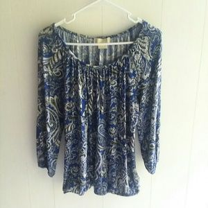 Michael Kors blue and Paisley print blouse